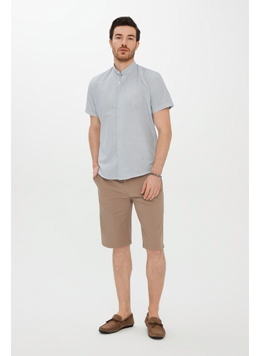 Kiğılı Kısa Kol Slim Fit Desenli Gömlek Bej